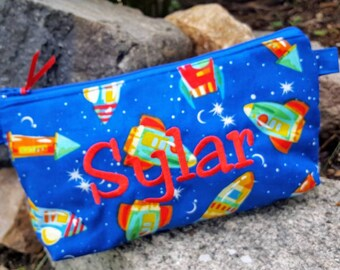 Rocketship  Pencil Case, Personalized Pencil Pouch, Boys' School Accessory Bag, School Supply Bag, Boys Zipper Bag, Ring Bearer Gift
