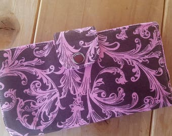 Pink and Brown Checkbook Cover, Coupon  Wallet, Fabric Checkbook, Damask Checkbook, Pink Scroll Checkbook,