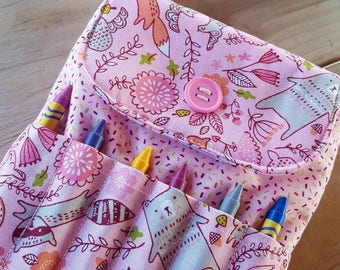 Pink Crayon Purse, Toddler Purse, Little Girl's Purse, Preschool Purse, First Purse, Fox Crayon Bag, Easter Purse, Woodland creatures purse