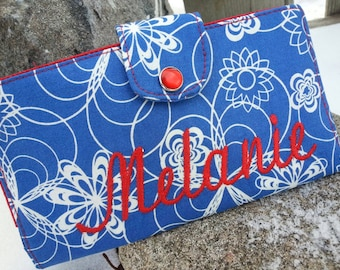 Personalized  Blue Floral Checkbook Cover, Blue Floral Wallet, Monogrammed Checkbook