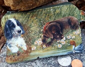 Dog Coin Purse,  Zipper Wallet, Dog Change Purse, Ear Bud Pouch, Vet Gift, Puppy Coin Bag, credit card pouch