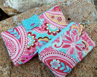 Quilted Checkbook Cover, Pink & Turquoise Coupon Wallet, Pink Quilted Coin Purse, credit card pouch, ear bud pouch