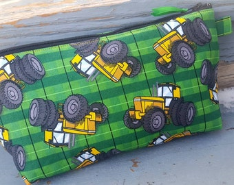 Tractor Pencil Case, Cosmetic Bag, Makeup Bag, Kids School Pouch, Crayon Bag, School Accessory Bag, Travel Bag, Boys Pencil Pouch