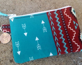 Arrow Coin Purse, Arrow Zipper Wallet, Arrow Change Purse, Southwest Coin Purse, Ear Bud Pouch, Zipper Bag, Feminine Pouch, Pocket Wallet