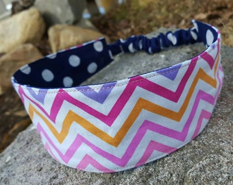 Colorful Chevron Headband, Ladies Reversible  Navy & White Polka Dot  Headband