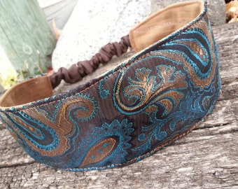 Turquoise & Brown Brocade Headband, Reversible Suede Headband