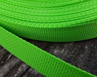 Lime Green Polypro one-inch Webbing, Belting, Dog Collar Webbing