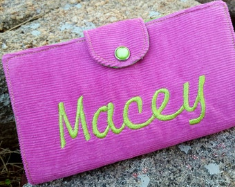 Personalized  Checkbook Cover, Corduroy Checkbook Holder, Pink Checkbook Holder, Coupon Wallet