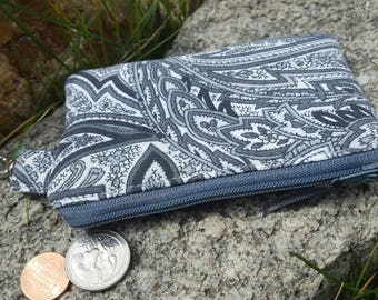 Grey and Black Coin Purse, Paisley Zipper Wallet, Ear Bud Pouch, Change Purse, credit card pouch