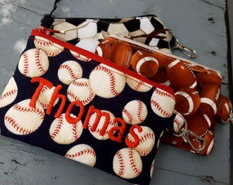 Boy's Change Purse, Sports Coin Purse, Baseball Coin Pouch, Personalized Boys Zipper Wallet, Soccer Coin bag, ear bud pouch