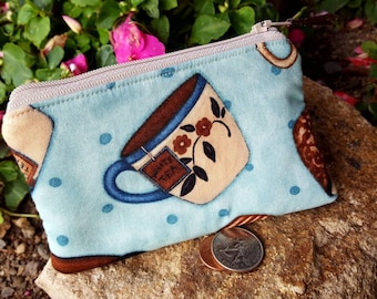 Teacup Coin Purse, Zipper Wallet, Teacup Change Purse, Ear Bud Pouch, Feminine Pouch, Pocket Wallet, Lipstick Pouch, credit card pouch