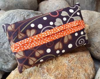 Brown and Orange Tissue  Case,  Floral Tissue Holder, Polka Dot Tissue Case