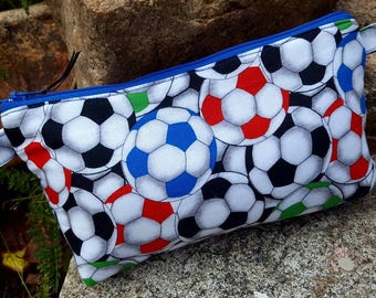 Soccer Pencil Pouch,  Soccer Cosmetic Bag, Soccer Zipper Bag, Sports Pencil Case, School Accessory Pouch, Soccer Money Bag