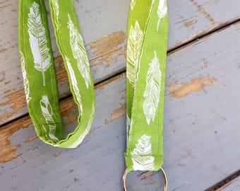 Feather Lanyard, Lime Green Lanyard, Badge Holder, ID Lanyard, Feather Keychain, Keychain Lanyard, Badge Lanyard