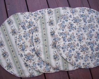 Blue & Tan Floral Placemats, Circle Reversible Centerpiece