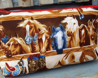 Horse Pencil Case, Horse Cosmetic Bag, Makeup Bag, Kids School Pouch, Crayon Bag, School Accessory Bag, Travel Bag, Western Cosmetic Bag