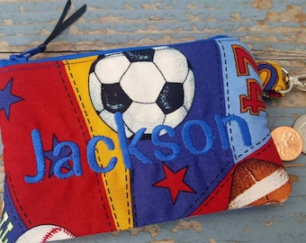 Sports Coin Purse, Personalized Boys Zipper Wallet, Kids Change Purse, Soccer Coin purse, ear bud pouch, football coin pouch, baseball pouch