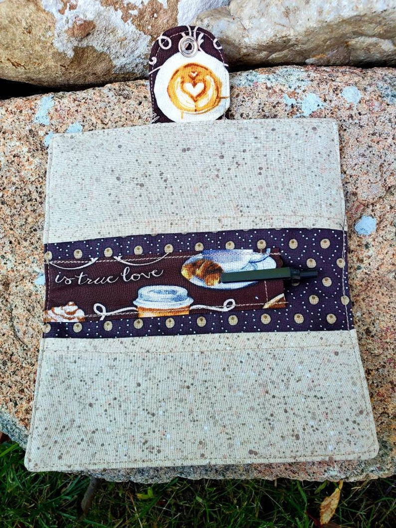 Coffee wallet Coffee gift Fabric Checkbook Handmade Checkbook Case Coffee Checkbook Cover Coffee Coupon Case Coupon  Wallet