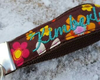 Personalized Floral Keychain, Keychain Wristlet, floral Keyfob, teachers gift