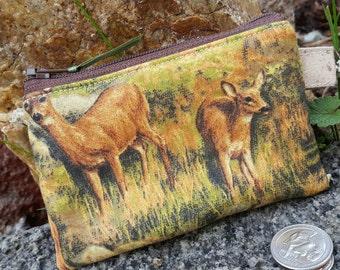 Deer Coin Purse, Wildlife  Zipper Wallet, Boys Change purse, Ear Bud Pouch, Deer zipper bag, credit card pouch