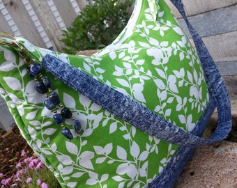 Green Floral Purse, Fabric Purse, Denim Purse, Green Handbag, Purse with Zipper, Handmade Purse, Fabric Purse, Purse with Pockets