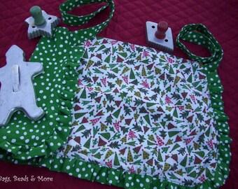 Christmas Toddler Apron, Little Girls Apron, Play Apron