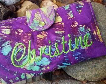 Personalized  Purple Checkbook Cover, Purple Batik Checkbook, Fabric Checkbook Cover, Monogrammed Checkbook