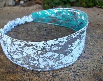 Teal & Grey Reversible  Headband, Ladies Headband, Teal Headband, Silver Headband
