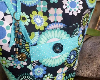 Turquoise and Black Tote, Floral Purse, Purse with Pockets, Turquoise Handbag, Fabric Purse