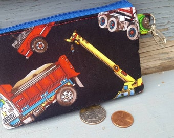 Boy's Coin Purse, Personalized Coin Purse,  Dump truck Wallet, Change Purse, Earbud Pouch, Pocket Wallet, Kids Change Purse