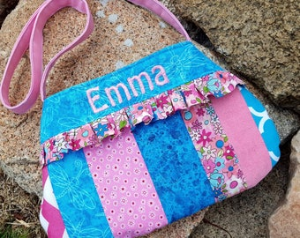 Personalized Little Girls Purse, Girl's Easter Purse, Patchwork Toddler Purse, Flower Girl Purse