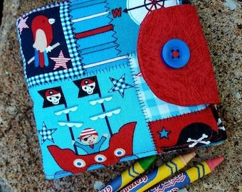 Crayon Wallet, Boy's Pirate Billfold, Crayon Holder, Crayon Roll