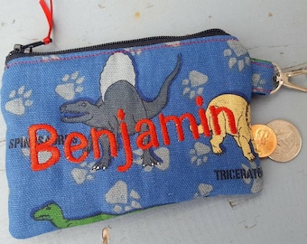 Dinosaur Coin Purse, Personalized Boys Zipper Wallet, Ear Bud Pouch, Kids Change Purse