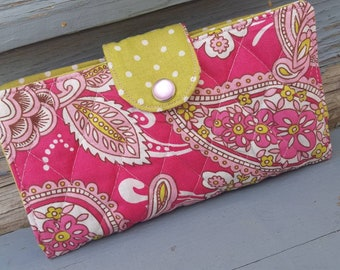 Pink and Green Quilted Checkbook Cover, Pink Checkbook Case, Pink Coupon Holder, Quilted Checkbook