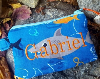 Shark Coin Purse, Personalized Boys zipper Wallet, Change Purse, Lunch Money Pouch, Ear Bud Pouch, Coin Purse with Name, First Wallet