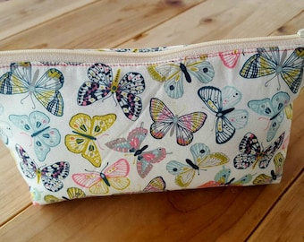 Butterfly Pencil Case, Personalized Makeup Bag,  Girl's School Supply Bag, Cosmetic Bag, Monogrammed Pencil Pouch