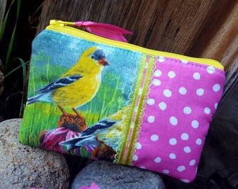 Bird Coin Purse, Zipper Wallet, Bird Change  Purse, Sparrow Coin Purse, Finch Zipper Bag, Ear Bud Pouch, credit card pouch