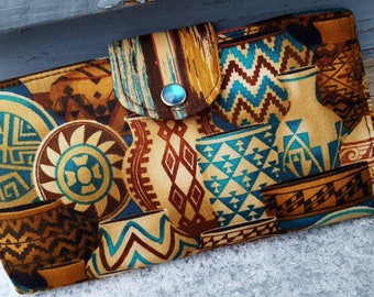 Southwest Checkbook Cover, Coupon Wallet, Aztec Checkbook Case, Pottery Checkbook