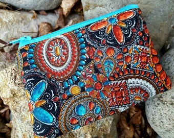 Southwest Coin Purse, Zipper Wallet, Ear Bud Pouch, Southwest Zipper Bag, credit card pouch