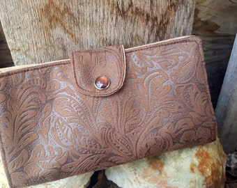 Tooled Leather Checkbook Cover,  Brown Faux Leather Coupon Wallet