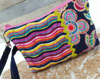 Quilted Wristlet, Colorful Floral Phone Case, Floral Wristlet, Fabric Wristlet, Small Purse