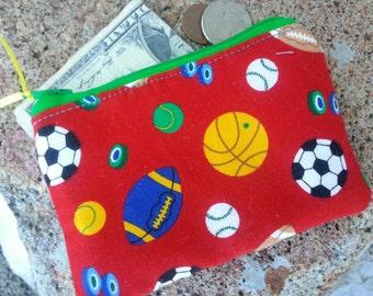 Sports Coin Pouch, Boys Zipper Wallet, Kids Coin Purse, Soccer Coin Purse, Football Coin Purse, First Wallet, Ear Bud Pouch