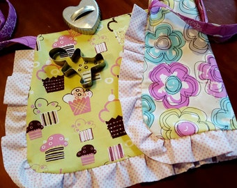 Cupcake Toddler  Reversible Apron with  Ruffle, Girls Apron, Little Girls Apron