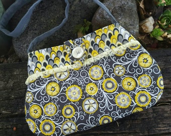 Toddler Purse, Yellow & Grey Little Girl's Purse, Girls Clearance Purse, Easter Purse, Flower Girl Purse, Girls purse clearance