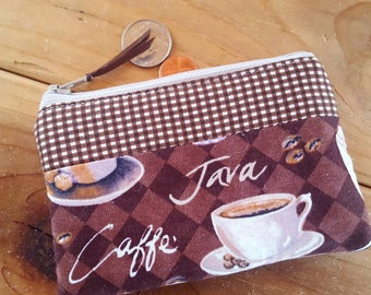 Coffee Coin Purse, Coffee Change Wallet, Java Coin Purse,Ear Bud Pouch, Gift Card Pouch, credit card pouch