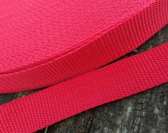 Red Polypro one-inch Webbing, webbing for belts, webbing for dog collars