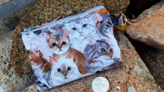 Chat de porte monnaie, Kitty pochette, chat Earbud pochette, porte monnaie Kitty, filles porte monnaie, pochette argent déjeuner, pochette carte cardit