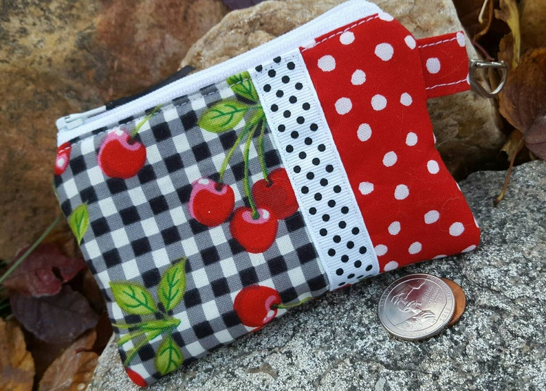 Cherry Coin Purse feminine pouch credit card pouch cherry change purse Gingham Zipper Wallet Cherry zipper wallet ear bud pouch