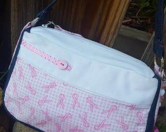 Breast Cancer Awareness Purse, Pink Ribbon Purse, Pink & White Purse, Purse with Pockets, Small Pink Purse, Fabric Purse