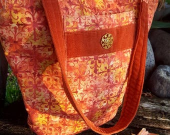 Coral tote, Autumn Purse, Autumn Tote, Purse with Fringe, Tote with Pockets